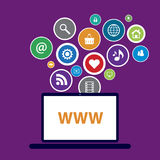 Laptop design and internet communication royalty free illustration