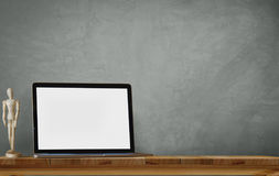 Laptop on desk. Blank screen for graphic display montage Stock Photography