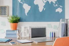 Laptop on the desk Royalty Free Stock Photo