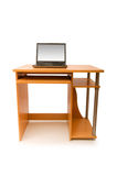 Laptop and desk isolated Royalty Free Stock Photo