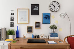 Laptop on the desk. In modern office Stock Images
