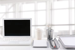 Laptop on Desk in Modern Office Royalty Free Stock Photo