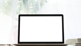 Laptop on desk Royalty Free Stock Image