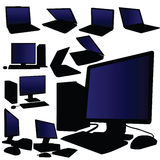 Laptop and desktop computer vector Royalty Free Stock Images