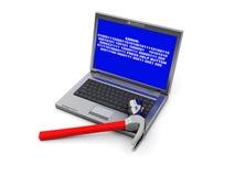 Laptop destruction. 3d illustration of laptop destruction by hammer vector illustration