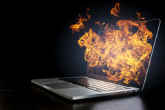 Laptop device damage. Mixed media Royalty Free Stock Images