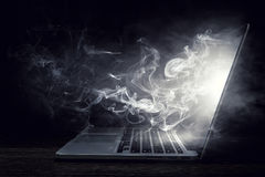 Laptop device damage. Mixed media royalty free stock photos