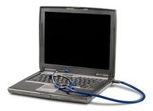 Laptop diagnose met stethoscoop op achtergrond Royalty-vrije Stock Fotografie