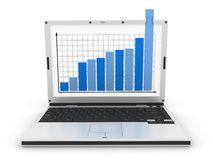 Laptop and diagram Royalty Free Stock Image