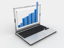 Laptop and diagram stock illustration