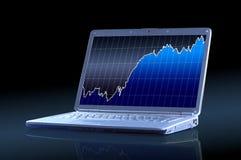 Laptop with a diagram Stock Photos