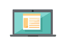Laptop with Diagram on Screen. Gray laptop with spreadsheet on blue screen. Open laptop flat icon. Laptop with infographics. Concept of online business, commerce Stock Image