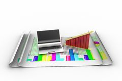 Laptop and diagram Royalty Free Stock Photos