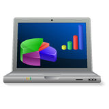 Laptop with diagrams Stock Images