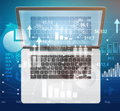 Laptop and dialogs with search menu in the global Stock Image