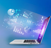Laptop and dialogs with search menu in the global Stock Photo