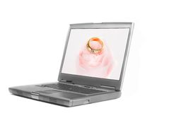 Laptop diamond ring and rose Stock Image