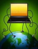 Laptop die in Aarde wordt gestopt Stock Afbeelding
