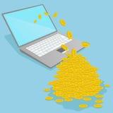 Laptop die geld maken Stock Foto's