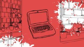 Laptop die op een rode getrokken bibliotheek wordt getrokken