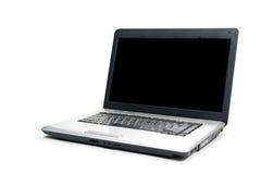 Laptop die op witte achtergrond wordt geïsoleerde Stock Foto's