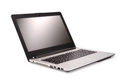 Laptop die op witte achtergrond wordt geïsoleerdm Stock Foto
