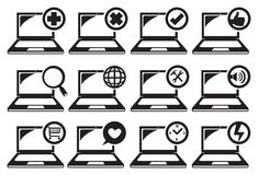Laptop and Different Functions Icon Set Royalty Free Stock Image
