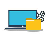 Laptop and digital marketing design. Laptop and file icon. digital marketing media and seo theme. Colorful design. Vector illustration Royalty Free Stock Images
