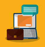 Laptop and digital marketing design. Laptop suitcase and file icon. digital marketing media and ecommerce theme. Colorful design. Vector illustration Royalty Free Stock Photo