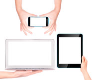 Laptop, digital tablet and mobile phone with hand Stock Photo