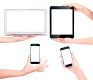 Laptop, digital tablet and mobile phone with hand Stock Image