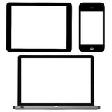 Laptop, digital tablet and phone. With blank screens on white background