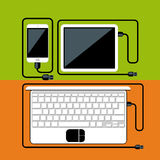 Laptop, digital tablet, smartphone with usb cable Stock Photo