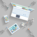 Laptop, digital tablet, smartphone with usb cable Royalty Free Stock Photos
