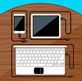 Laptop, digital tablet, smartphone with usb cable Stock Image