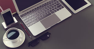 Laptop with digital tablet and spartphone Royalty Free Stock Images