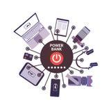 Laptop, Digitale Tablet, Slimme Telefoons en Fotocamera die van Moderne Draagbare de Batterijtechnologie van de Machtsbank laden Stock Foto