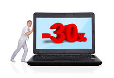 Laptop with discount Royalty Free Stock Photo