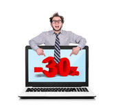Laptop with discount Royalty Free Stock Image