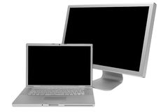 Laptop and display Royalty Free Stock Image