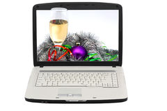 Laptop. The display - Christmas photo. Isolated object Stock Photos