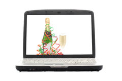 Laptop. The display - Christmas photo. Isolated object Royalty Free Stock Images