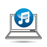 Laptop display concept note music media design Royalty Free Stock Photo