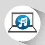 Laptop display concept note music media design Stock Image