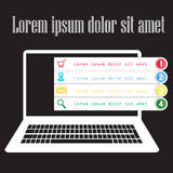 Laptop display with open color tab. And number Stock Images