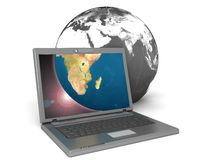 Laptop displaying the earth. 3d illustration of laptop displaying the earth Stock Photo