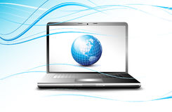 Laptop displaying earth globe, business concept Royalty Free Stock Photos