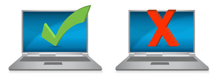 Laptop displays with check and x marks vector illustration