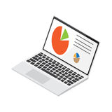 Laptop Displays Colored Diagrams Illustration Royalty Free Stock Images