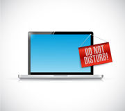 Laptop with a do not disturb hanging sign illustration Stock Image